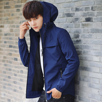 Korean-style New style men's hooded Slim fit jacket (Shen Lan)