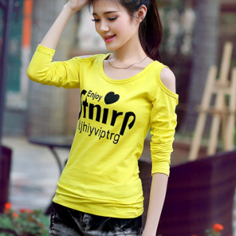 Korean-style New style off-the-shoulder long-sleeved t-shirt (Yellow heart word)