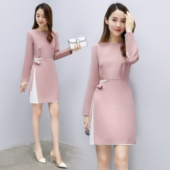 Korean-style New style OL temperament pink long-sleeved dress