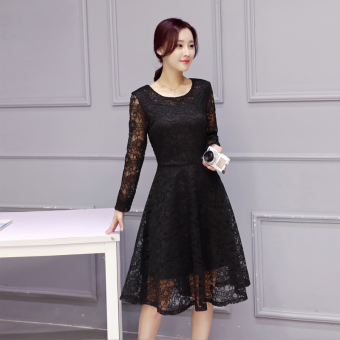Korean-style New style Slim fit base dress (Black)
