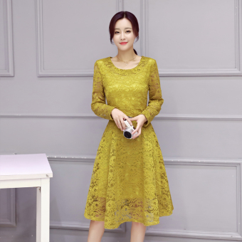 Korean-style New style Slim fit base dress (Ginger yellow)