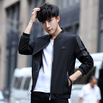 Korean-style New style Slim fit baseball clothes men's jacket handsome casual jacket (Black)