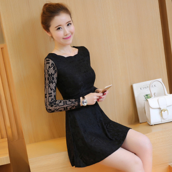 Korean-style New style Slim fit elegant dress (Black) (Black)