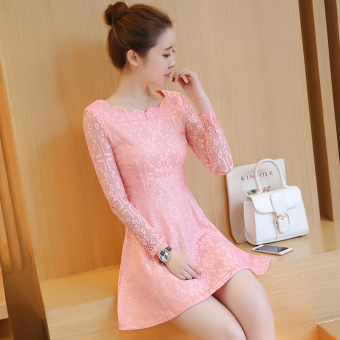 Korean-style New style Slim fit elegant dress (Pink) (Pink)