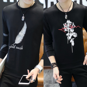 Korean-style New style Slim fit round neck hoodie T-shirt (Black Feather + black Peony) (Black Feather + black Peony)