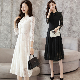 Korean-style New style Slim fit slimming base skirt white lace dress (White)