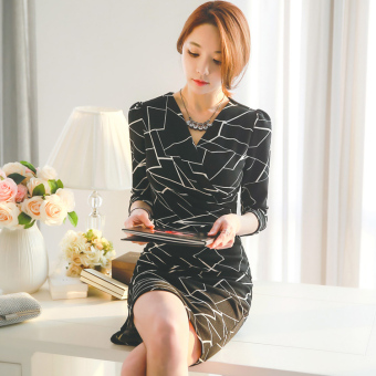 Korean-style New style Slim fit slimming waist hugging long-sleeved dress (Black) (Black)