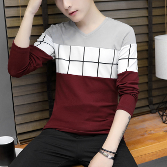 Korean-style New style Slim fit V-neck base shirt T-shirt (901 gray)