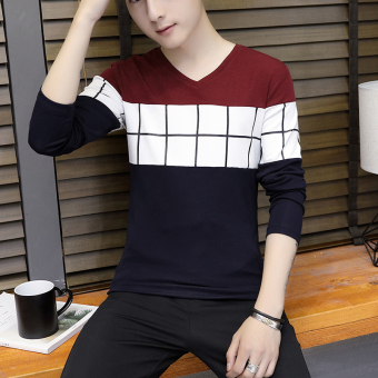 Korean-style New style Slim fit V-neck base shirt T-shirt (901 wine red)