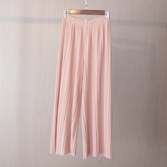 Korean-style New style slimming pleated wide leg pants (Pink) (Pink)