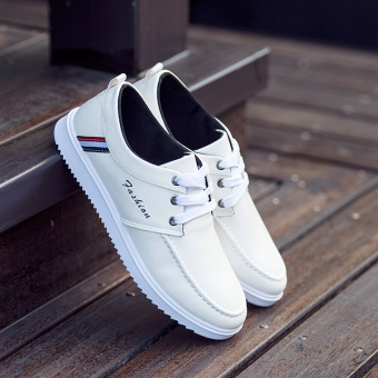 Korean-style New style summer Teenager men's white shoes (B36 white)
