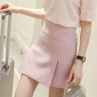 Korean-style New style women high-waisted a word skirt pink skirt (Light blue)