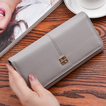 Korean-style New style women long clutch bag women's wallet (Gray (to send gift box packaging))