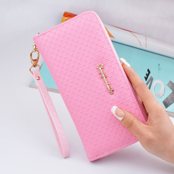 Korean-style New style Women's zipper bag long wallet (Pink)