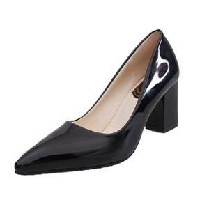 Korean-style patent leather black nude color high-heeled shoes women shoes (Black)