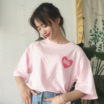 Korean-style pink girl's half sleeved Top loose short sleeved t-shirt (Pink) (Pink)