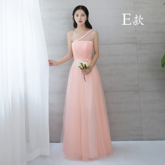Korean style pink New style bridesmaid sisters dress bridesmaid dress (825 long Jade pink E Models)