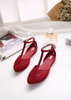 Korean-style plastic pointed porous gel shoes flat sandals (Red)