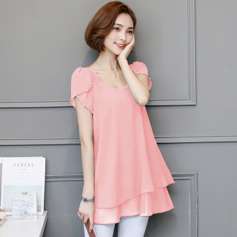 Korean-style Plus-sized long section short-sleeved bottoming small shirt loose chiffon shirt (Pink)