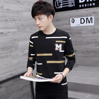 Korean-style Plus velvet High School Students thick Top T-shirt (8371 (black))