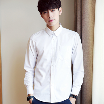 Korean-style Plus velvet male long-sleeved men's shirt white shirt (White)