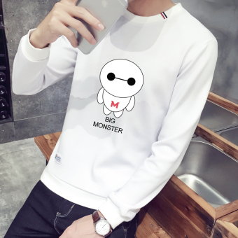 Korean-style Plus velvet men round neck bottoming shirt T-shirt (T1695 white [Spring and Autumn])
