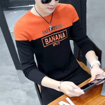 Korean-style Plus velvet men Teenager warm bottoming shirt thick long-sleeved t-shirt (2058 black)