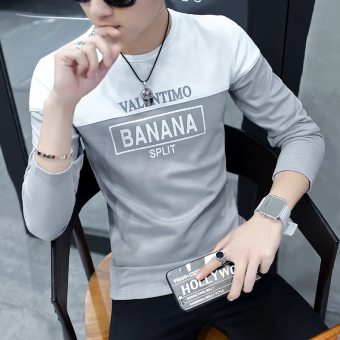 Korean-style Plus velvet men Teenager warm bottoming shirt thick long-sleeved t-shirt (2058 gray)