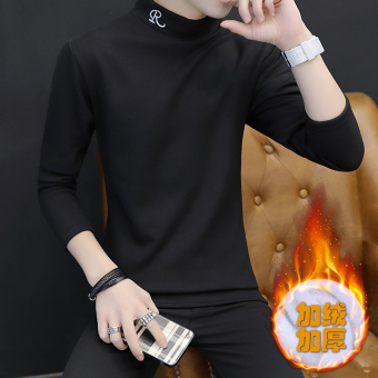Korean-style Plus velvet men's high collar warm bottoming shirt thick long-sleeved t-shirt (R black)