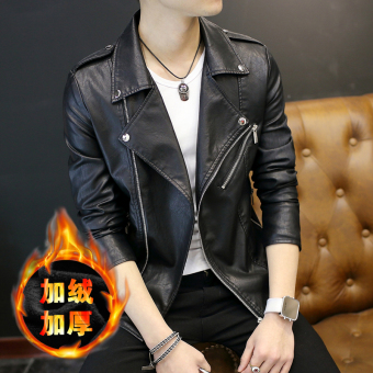 Korean-style Plus velvet New style Slim fit motorcycle jacket men's leather