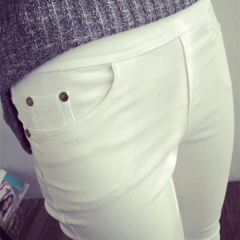 Korean-style Plus velvet outerwear autumn and winter pencil pants leggings ([Autumn thin] White)