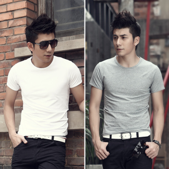 Korean-style Plus velvet solid color round neck plain white bottoming shirt T-shirt (4-round neck white round neck gray)