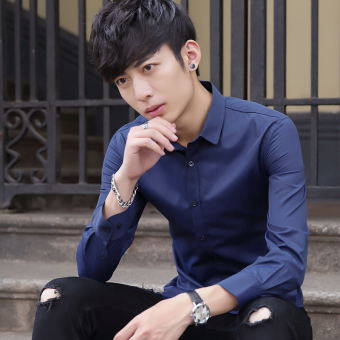 Korean-style Plus velvet solid color Slim fit white shirt men's long-sleeved shirt (Navy)