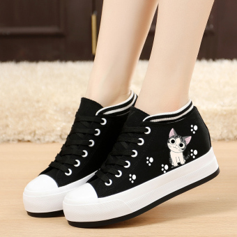 Korean-style Plus velvet thick bottomed flat heel cloth shoes canvas shoes (Cat footprints models [Black muffin flat])
