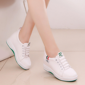 Korean-style Plus velvet thick bottomed sports casual shoes elevator women's shoes (White 306)