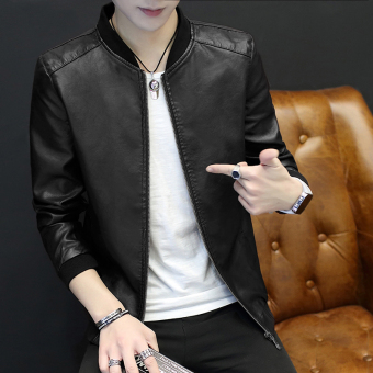 Korean-style PU Leather men Slim fit jacket men's jacket (Black thin section)
