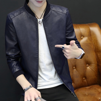 Korean-style PU Leather men Slim fit jacket men's jacket (Dark blue color thin section)