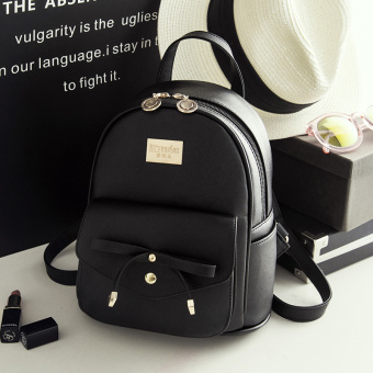 Korean-style PU Leather New style mini Shinebager backpack (Black)