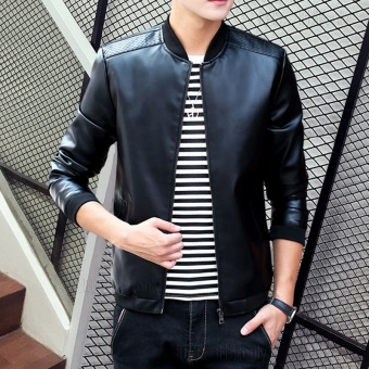 Korean-style PU Leather Slim fit men's jacket Leather (818 black)