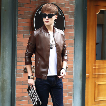 Korean-style PU Leather Slim fit men's jacket Leather (8916 Brown)