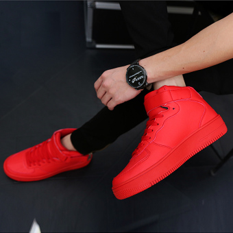 Korean-style red color male student winter shoes hight-top plain weave shoes (Red)