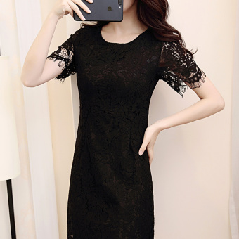 Korean-style red female New style dress summer dress (Black)