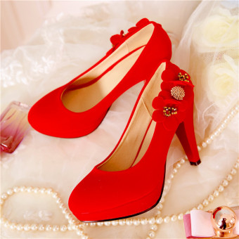 Korean-style red waterproof platform super high-heeled shoes flowers shoes (Red)