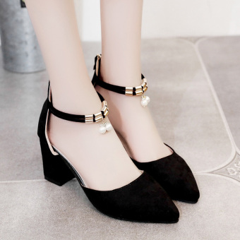 Korean-style semi-high heeled A-line with women's shoes Baotou sandals (Women's + Black Pearl Models)
