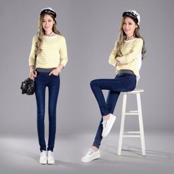 Korean Style Sexy Jeans Women Casual High Waist Elastic Denim LongPencil Pants Lady Trousers (Navy Blue) - intl - 2