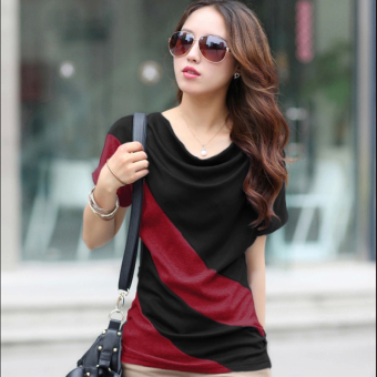 Korean-style Short sleeve Slimming effect small shirt (Black + red)
