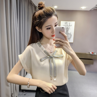 Korean-style short-sleeved female New style Top chiffon shirt (Beige)