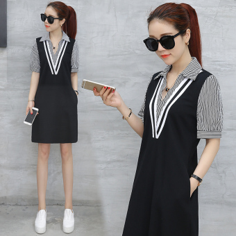 Korean-style short sleeved New style summer skirt dress (Striped) (Striped)