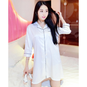 Korean-style silk cardigan short sleeved viscose fibre home clothes shirt-style pajamas (White)