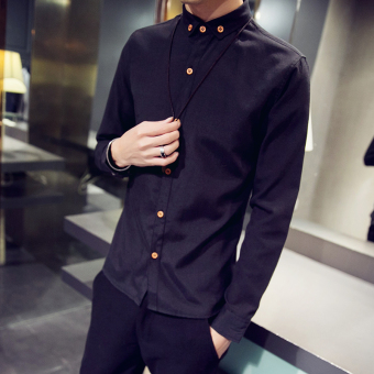 Korean-style Slim fit boy's base shirt long-sleeved shirt (Black)